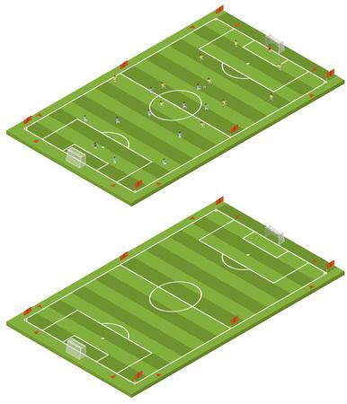 soccer field: Isometric flat 3D soccer field template. Illustration