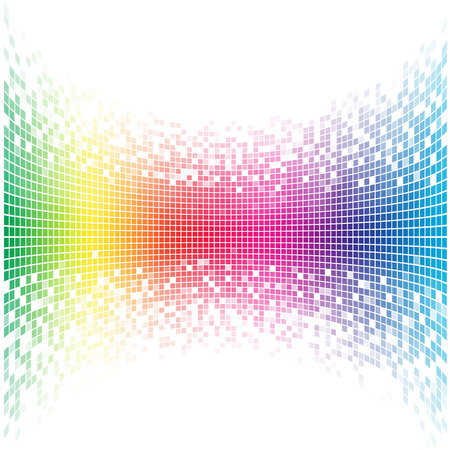 Abstract concave rainbow mosaic vector template with white copy space. Çizim