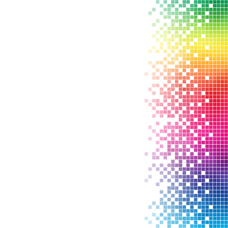 Abstract rainbow mosaic vector template with white copy space.
