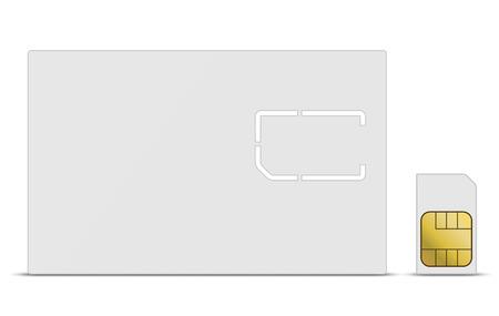 Blank white mobile SIM card vector template. Illustration