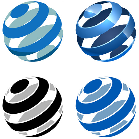 spheres: Abstract striped sphere vector sign isolated on white background. Illustration