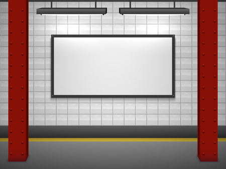empty space: Blank advertising billboard at subway station vector template.