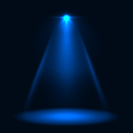 Abstract blue stage spotlight vector background.