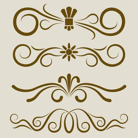 separation: Calligraphic book page divider vector set. 4 dividers for greeting cards, invitations, title pages or text separation.