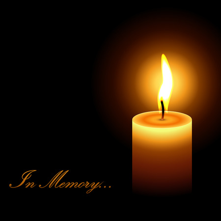 In memory mourning candle light vector background.