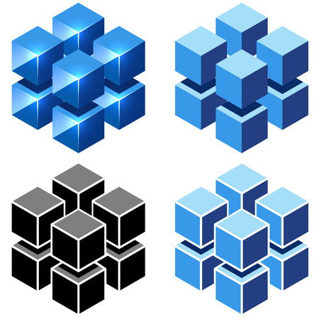 tech logo: Isometric cubes vector sign isolated on white background. Illustration