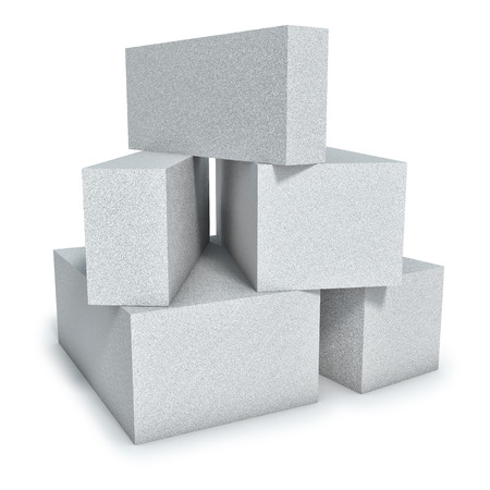 Aerated concrete wall construction blocks isolated on white background. Stock Photo