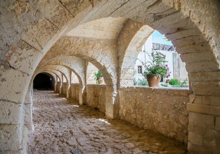 arkady: Arkadi monastery stone archway, Crete, Greece.