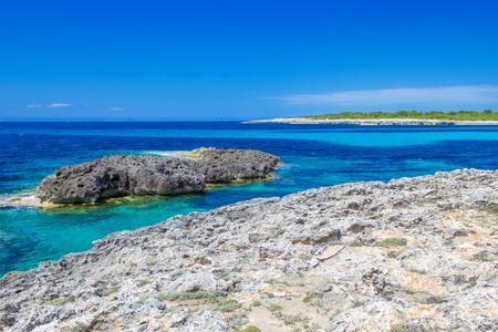 menorca: Menorca island coast view on Mediterranean Sea, Balearic Islads, Spain. Stock Photo