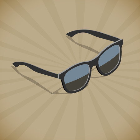 eyewear fashion: Retro flat isometric design sunglasses vector poster template with copy space. Illustration