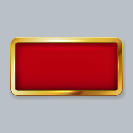 rounded: Golden frame with red velvet copy space vector template. Illustration