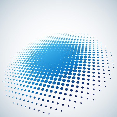 illusions: Abstract blue halftone spot vector background with copy space. Illustration