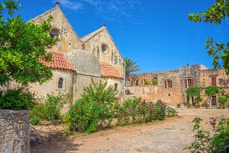 arkady: The backyard of the Arkadi Monastery at Crete. Greece. It was built in the 16th century and almost destructed in 1866 by the Ottomans.