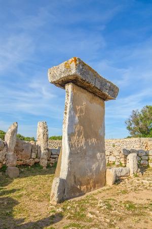 menorca: Taula megalithic monument in Torralba den Salord, Menorca, Spain. Stock Photo