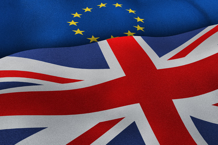 yes or no to euro: European Union and United Kingdom flags brexit concept background. 3D illustration of UK and EU flags.