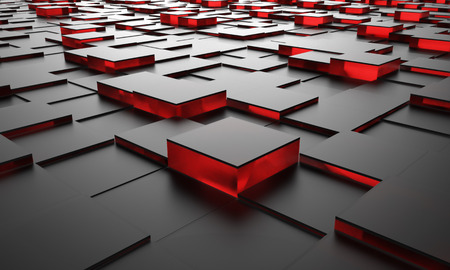 Black cubes with red glass core 3D rendering abstract floor background. Stock Photo