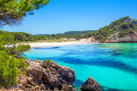 bot: Platja des Bot beach in summer sunny day at Menorca Island, Balearic Islands, Spain.