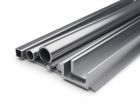 コピー スペースを持つ金属産業背景をロールバックされます。金属の 3 D レンダリング プレート、異形管、L バー、六角形バー、白い背景に分離さ