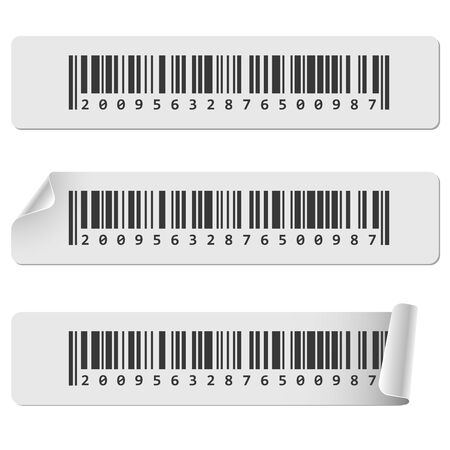 ean: Horizontal white barcode sticker vector template. Barcode tags with curled corner.