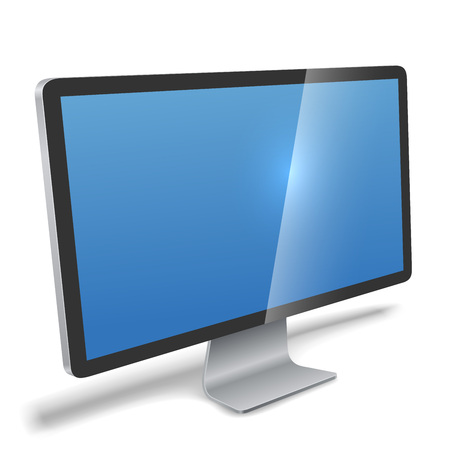 flat screen: Modern monitor realistic vector illustration. Flat screen LCD monitor perspective view isolated on white background.