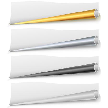 bended: Set of paper page bottom rolls vector template. Golden, chrome, black and white bottom paper curls. Scalable vector template for the bottom of leaflet, poster,  web page or banner. Illustration