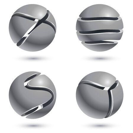 esfera: 3D cortó signos esfera de metal aisladas sobre fondo blanco. Conjunto de vectores de emblemas redondas de metal. bolas de metal con la ilustración de los recortes del vector.