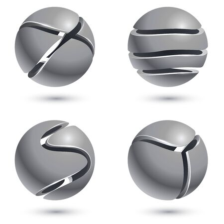 3D cut metal sphere signs isolated on white background. Vector set of metal round emblems. Metal balls with cuts vector illustration.