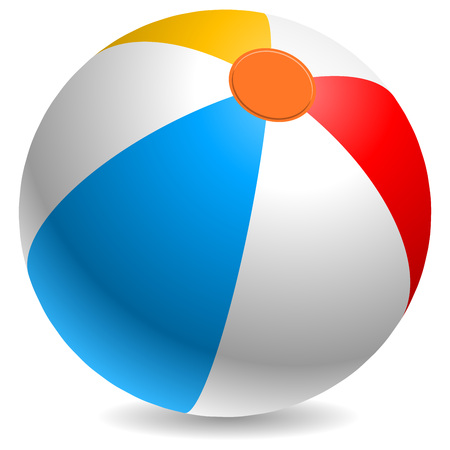 beach ball: Colorful beach ball vector illustration. White, red, yellow and blue beach ball isolated on white background.