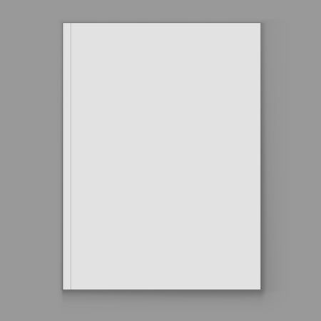 magazine page: Blank white magazine cover page vector template isolated on grey background. Magazine vertical cover with copy space.