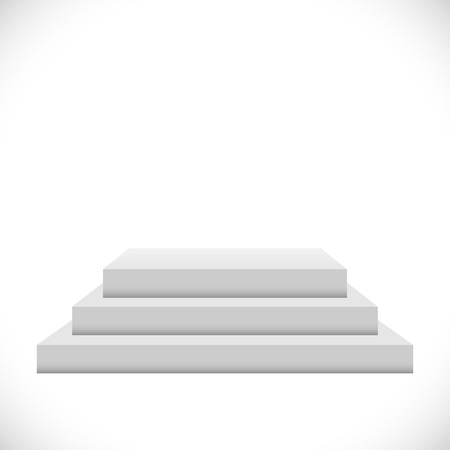 Empty white 3 steps podium vector template.