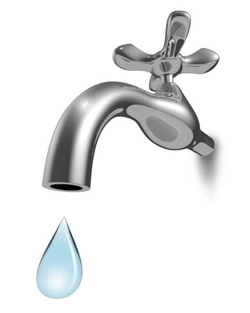 drop down: Chrome water tap with the blue drop falling down isolated on white background. 3D rendering of the water economy concept.