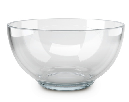 Empty transparent glass cooking bowl isolated on white background. 3D rendering of the salad-dish. Stock fotó