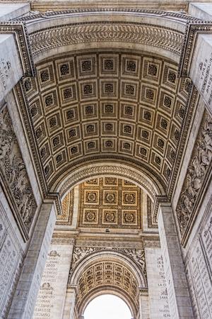 triumphe: Arc de Triumphe stone vault carving ornaments, Paris, France.