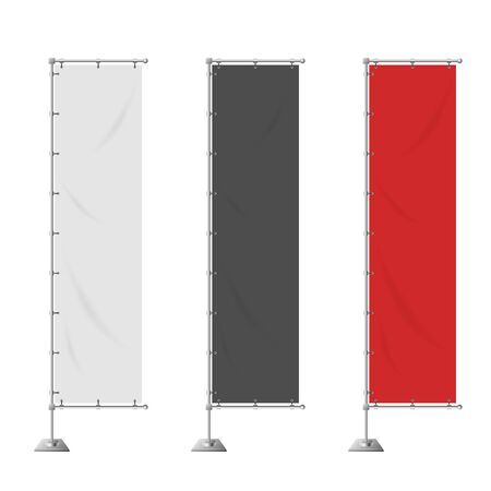 red banner: Blank vertical advertising banner in white, black, red color vector template.