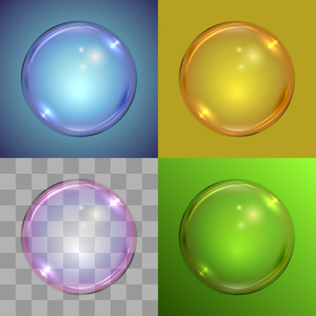 solid color: Soap bubble vector template on different backgrounds – radial gradient, solid color, checker, linear gradient.