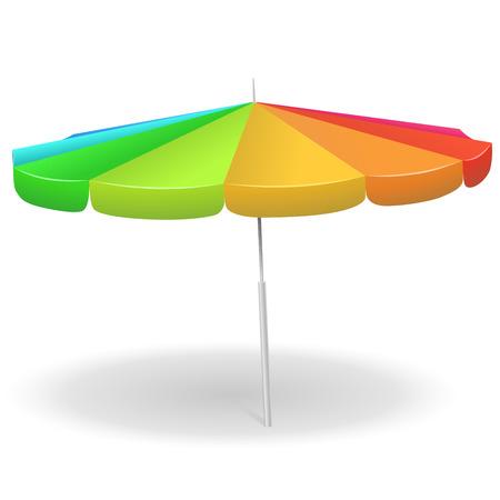 rainbow umbrella: Rainbow colored beach umbrella isolated on white background vector illustration.