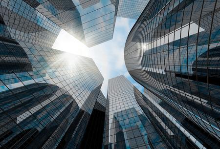 背景を照らす太陽と高いガラスの摩天楼。空に抽象的な市内ビジネス中心の 3 D レンダリングします。