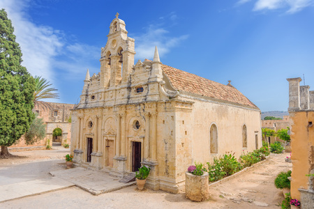 arkady: Venetian baroque church of the famous Arkadi Monastery at Crete. Greece. It was built in the 16th century and almost destructed in 1866 by the Ottomans.