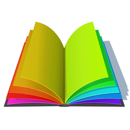Opened book with colorful rainbow pages isolated on white background. Joyful education concept illustration.