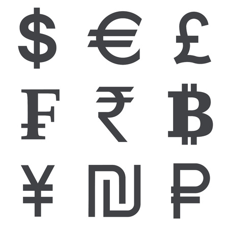 symbols: Currency icon set isolated on white background. Collection of currency symbols dollar, euro, pound, franc, rupee, bitcoin, yuan, shekel, ruble.