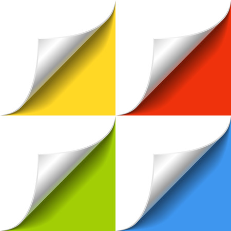 yellow green: Curled corner of white paper page with shadow on color background template. design element  with yellow, red, green and blue background. Illustration