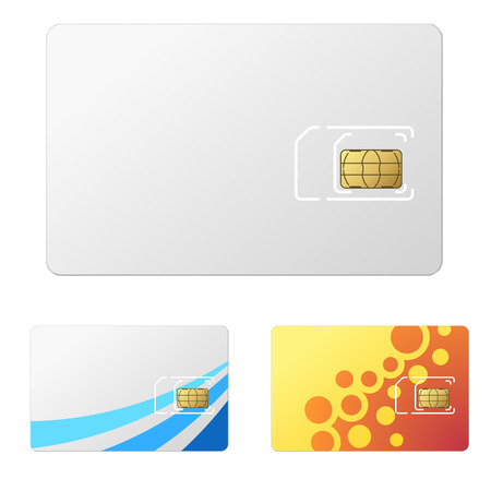 Blank white new SIM card template with 2 simple design examples.