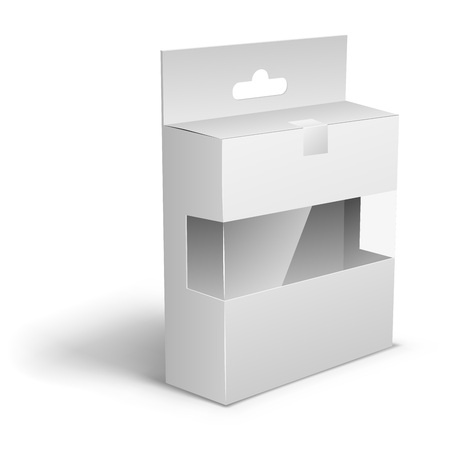 membrane: Blank white product packaging box with the hanger cut and transparent display membrane template for applying individual design. Illustration