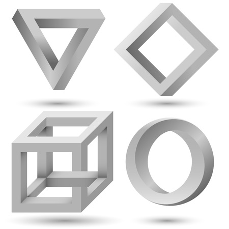 infinite loop: Shaded geometric object set template. illusion triangle, cube, infinite loop and diamond isolated on white background. Can be used as  icon, sign or design element.