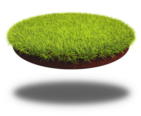 pieza cortada ronda de suelo cubierto de césped verde y exuberante. Representación 3D de la tierra de corte aislada en el fondo blanco.