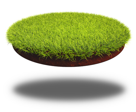 Round cut piece of soil covered with lush green grass. 3D rendering of the land cutting isolated on white background. Standard-Bild