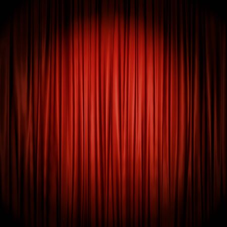 red cloth: Red stage curtain illuminated by spotlight backdrop. 3D rendering of the theater act drop red cloth.