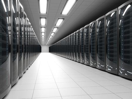 現代データ センター サーバー ラック技術背景を持つ。IT キャビネットは、3 D レンダリングを行します。