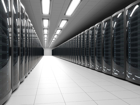 host: Modern data center with server racks technology background. IT cabinet rows 3D rendering. Stock Photo