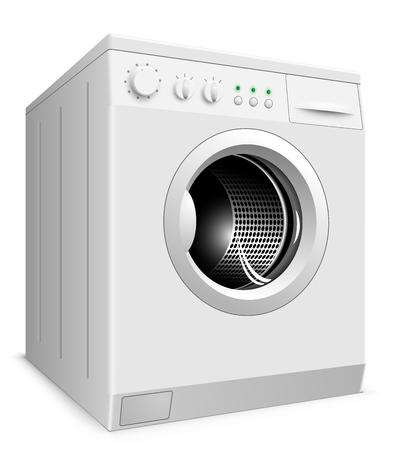 washer machine: White washing machine isolated on white background illustration.